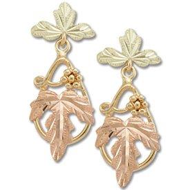 Black Hills Gold 4 Leaves & Grapes Dressy Post Earrings