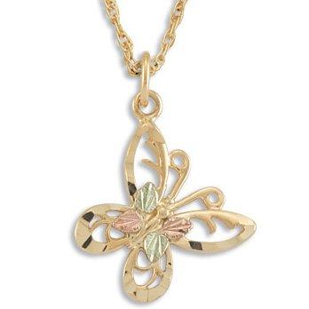 "Black Hills Gold & 10K Gold Butterfly Necklace 1"" Long"
