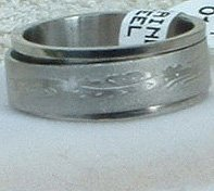 """Stainless Steel Ring Spinner 5/16"""" Etched Unisex"""