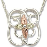 Black Hills Gold Cross Sterling Silver Filigree Necklace