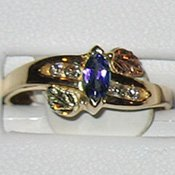 Black Hills Gold Diamonds & Amethyst Ladies Ring