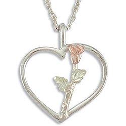 "Black Hills Gold Rose On Sterling Silver Heart Necklace 7/8"""