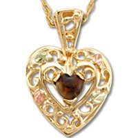Black Hills Gold Lab Created Black Opal Filigree Heart Necklace