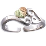 Black Hills Gold On Sterling Silver Heart Toe Ring