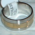 """Stainless Steel Ring Band 3/8"""" Unisex Gold Tone Center"""