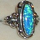 Sterling Silver Ring Ladies Large Lab Created Blue Opal