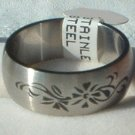 "Stainless Steel Ring Band 3/8"" Unisex Antiqued Floral"