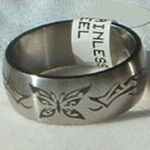 "Stainless Steel Ring Band 3/8"" Unisex Antiqued Butterfly"