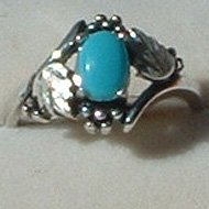 Sterling Silver Ring Ladies Oval Genuine Turquoise