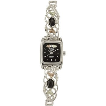 Black Hills Gold Watch Ladies Diamond Black Onyx Sterling Silver