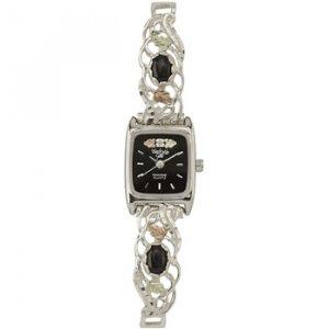Black Hills Gold Watch Ladies Diamond Black Onyx Sterling Silver