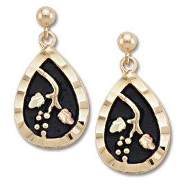 Black Hills Gold 2 Leaves Antiqued Teardrop Post Earrings
