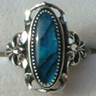Large Sterling Silver Oval Paua Shell Ladies Ring