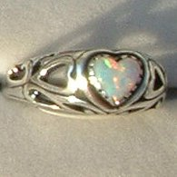 Lab Created Opal Ring Ladies Heart Sterling Silver