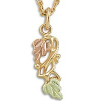 Black Hills Gold 2 Leaves Grapes & Entwined Vines Necklace