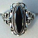 """Large Faceted Hematite Ring Ladies Sterling Silver 3/4"""" Wide"""