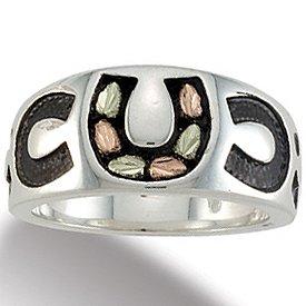 Black Hills Gold Sterling Silver Antiqued Horseshoe Mens Ring