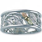 Black Hills Gold On Sterling Silver Leaf Ladies Open Band Ring
