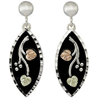 Black Hills Gold Earrings Antiqued Silver Post