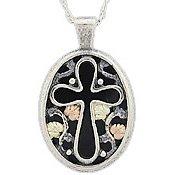 Black Hills Gold Necklace Black Onyx Silver Cross Oval