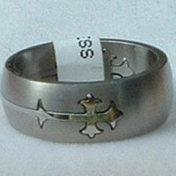 """Stainless Steel Ring Band 5/16"""" Unisex Etched Cross"""