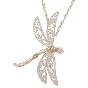 Black Hills Gold Necklace On Silver Dragonfly
