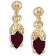 Black Hills Gold Synthetic Garnet Nivet Earrings