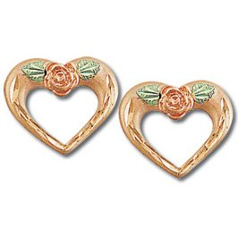 Black Hills Gold Rose & 10K Pink Gold Heart Earrings