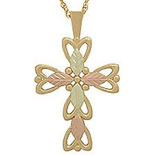 Black Hills Gold Necklace 5 Leaves Cross
