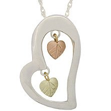 Black Hills Gold Necklace 2 Dangling Leaves & Silver Heart