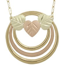 Black Hills Gold Necklace Heart Shaped Leaves Rings