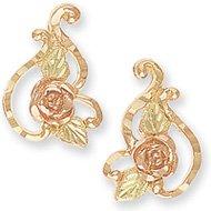 Black Hills Gold Rose Frilly Post Earrings