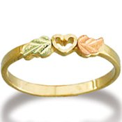 Black Hills Gold 2 Leaves Open Heart Ladies Ring