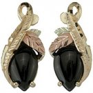 Black Hills Gold Earrings Black Onyx Cabochon Post