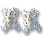Black Hills Gold Sterling Silver Frog Post Earrings
