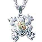 Black Hills Gold On Sterling Silver Frog Necklace