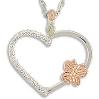 Black Hills Gold Butterfly On Silver Heart Necklace