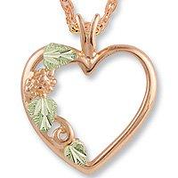 Black Hills Gold Leaf 10K Pink Gold Heart Necklace 3 Green Leaves
