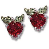 Black Hills Gold Synthetic Ruby Apple Silver Earrings
