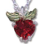 Black Hills Gold Synthetic Ruby Apple Silver Necklace