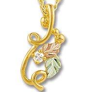 Black Hills Gold 2 Leaves Diamond Necklace .05 TDW