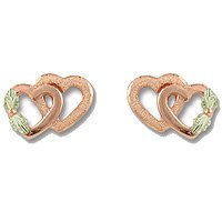 Black Hills Gold 10K Pink Gold Double Heart Earrings