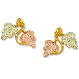 Black Hills Gold 2 Leaves Vines Post Earrings