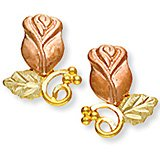 Black Hills Gold Leaves Rose Grapes Post Earrings