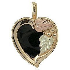 Black Hills Gold Necklace Black Onyx Heart