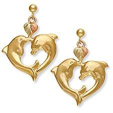Black Hills Gold 2 Dolphins Heart 10K Gold Earrings