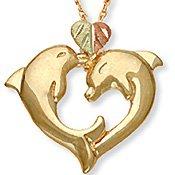 Black Hills Gold 2 Dolphins Heart 10K Gold Necklace