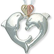 Black Hills Gold 2 Dolphins Heart Silver Necklace