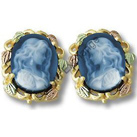 Black Hills Gold Attractive Girl Blue Agate Cameo Earrings