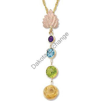 Black Hills Gold Amethyst Blue Topaz Citrine Peridot Necklace